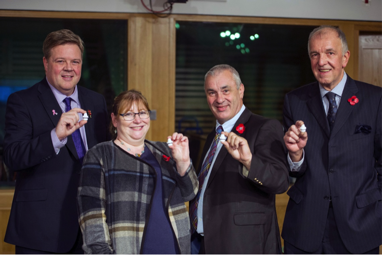 James Lochrie, COO Common Thread Group; Clare Adamson MSP; Brian Topping, Osprey Housing; and Dave Atkinson, Bluerad.