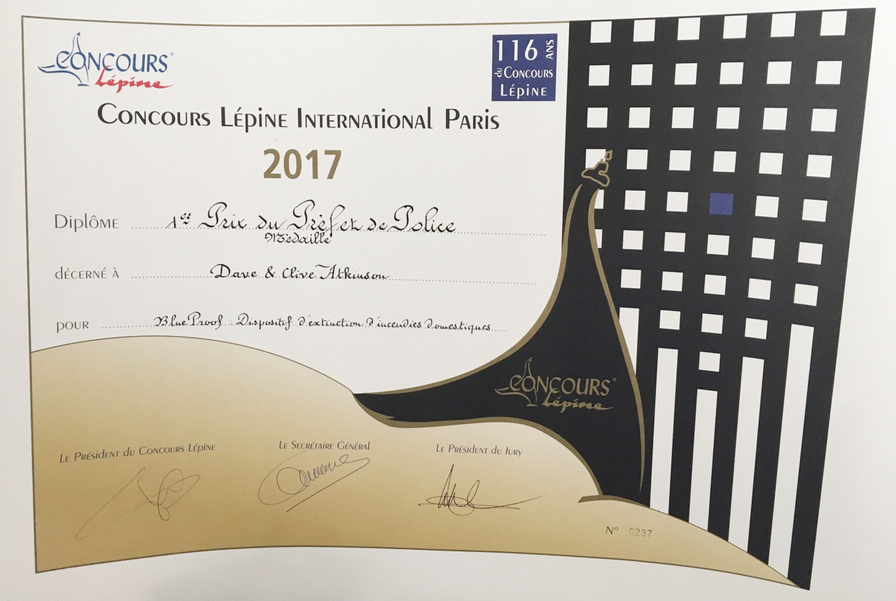 Concours Lepine 2017 certificate
